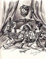 Captain Jack Sparrow, Giselle and Scarlett. by Bormoglot