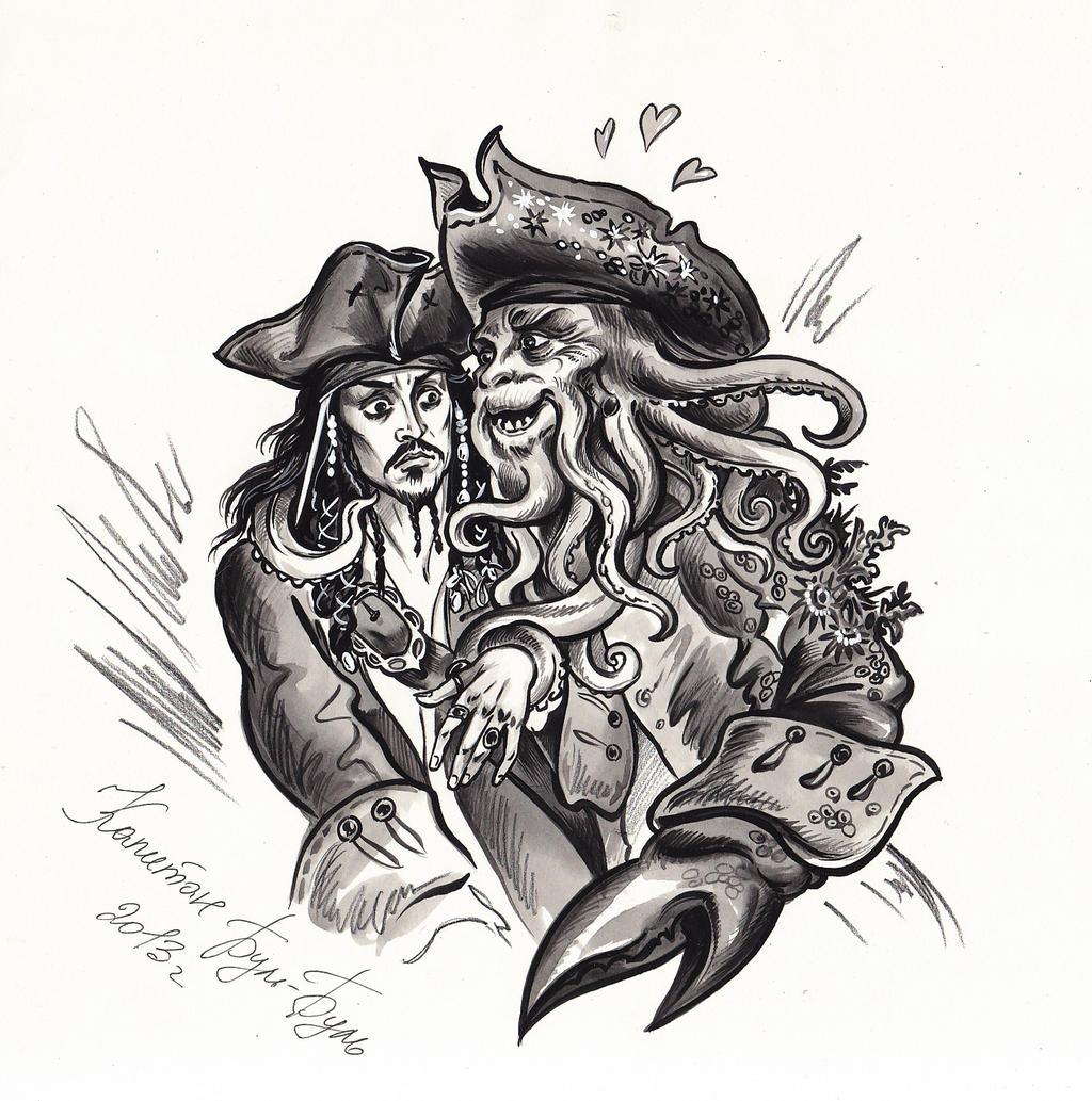 Captain Jack Sparrow and Davy Jones.