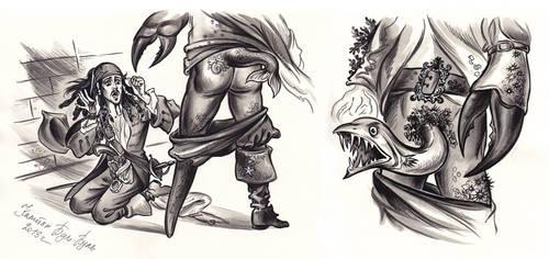 Captain Jack Sparrow and Davy Jones. by Bormoglot