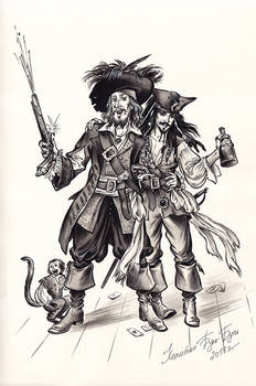 Captain Jack Sparrow and Hector Barbossa.