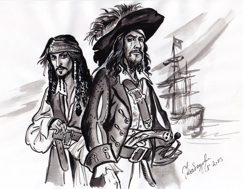 Captain Jack Sparrow and Hector Barbossa sketch. by Bormoglot