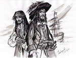 Captain Jack Sparrow and Hector Barbossa sketch.