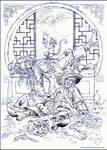 Jack Sparrow and Hector Barbossa. Sketch.