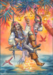 Captain Jack Sparrow spends new year's holidays.