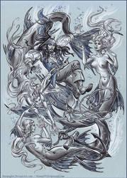 Captain Jack Sparrow and mermaids.