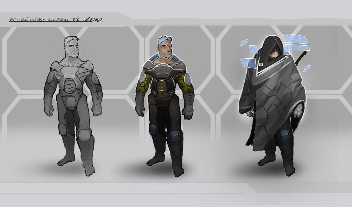 Male Scifi character design. by alexdrummo