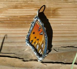 Real Gulf Fritillary Butterfly Wing Pendant