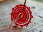 Red Faux Glass Disc Bead