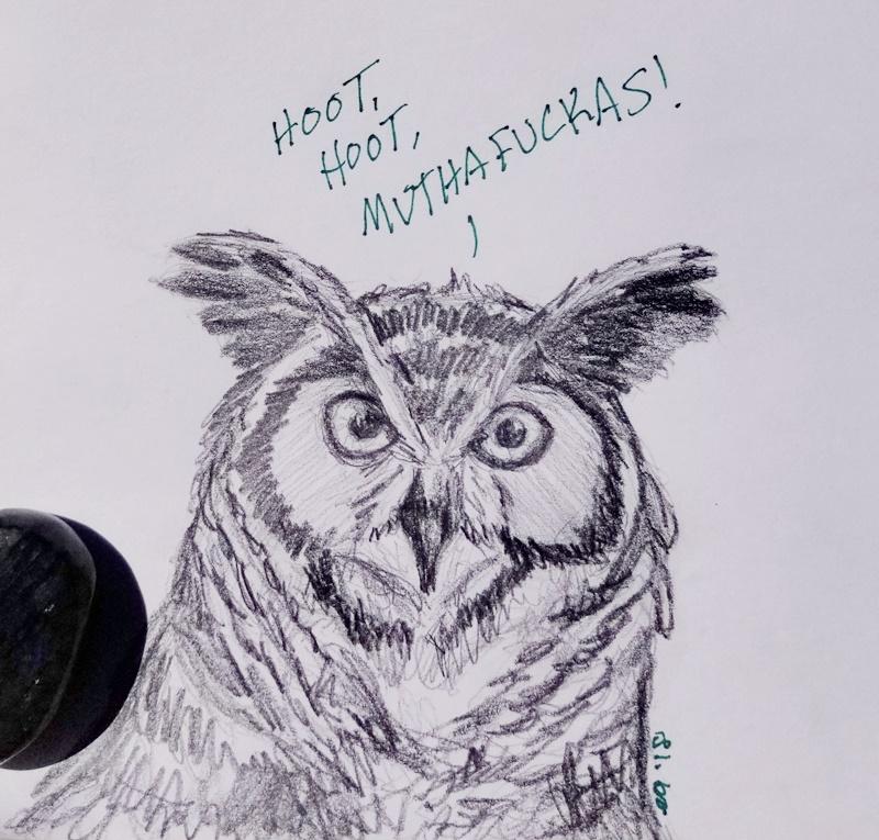 Great Horned Owl Sketch by Bluecrest-Rubenaris