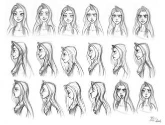 Original-Golden Heart Swana facial model sheet by ChiehChen