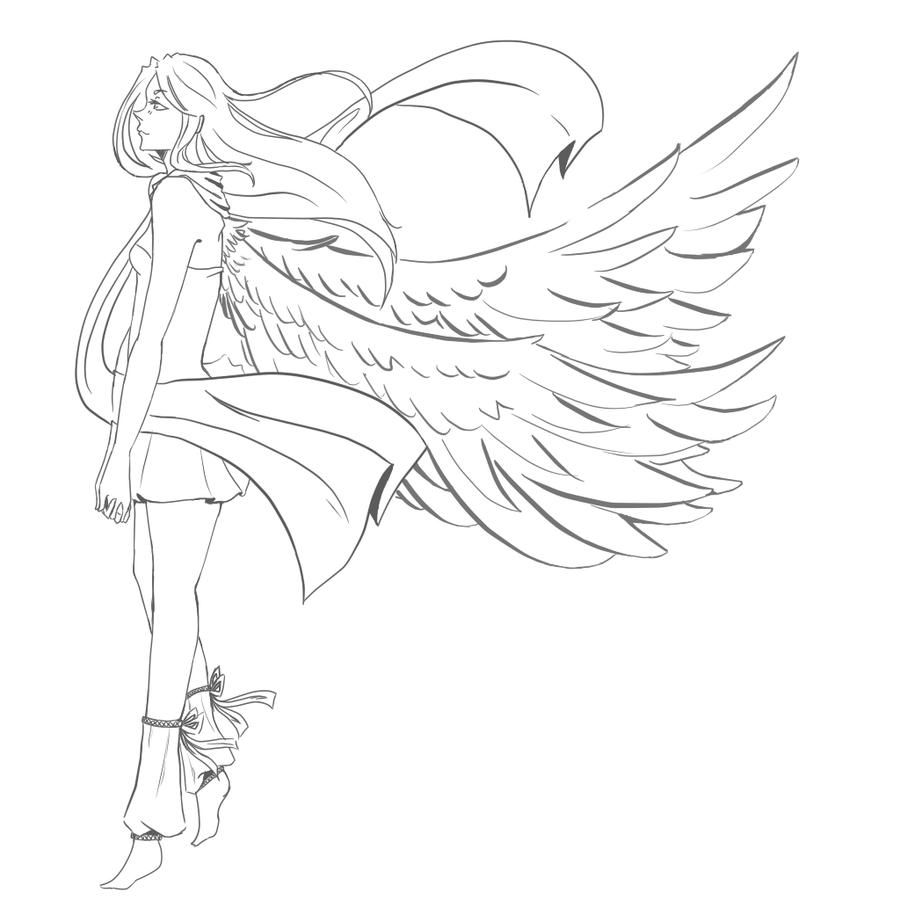 Female Angel LineArt By XxSadako ChanxX