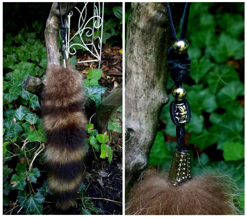 Raccoon tail pendants Silver by AdarkerNEMISIS