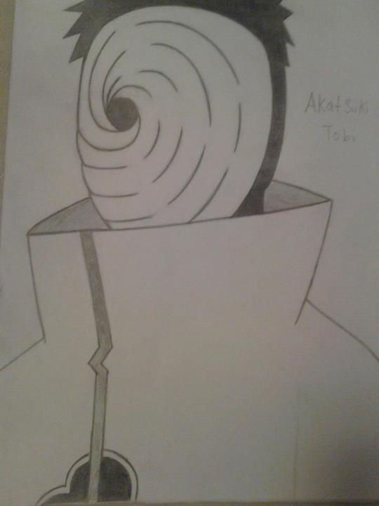 Pencil drawing of tobi from naruto by tyshoru