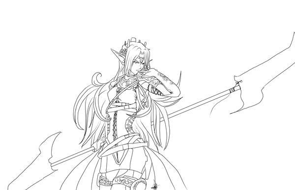 Line Art Queen : Elf warrior coloring page sketch