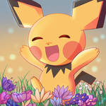 Pichu with flowers