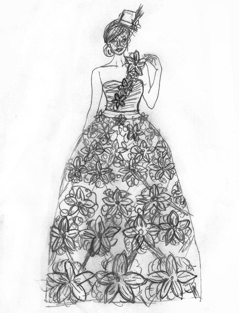 Trashy Fashion Sketch Of Origami Flower Dress By Lovely LaceyAnn Art