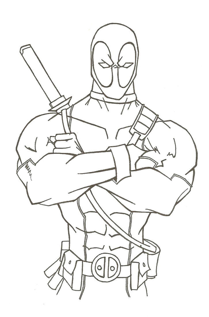 Xfig Line Drawing : Deadpool lineart by hiringhenchmen on deviantart