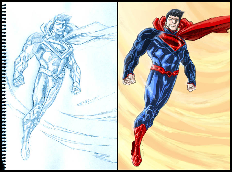 Superman sketch and final by dichiara