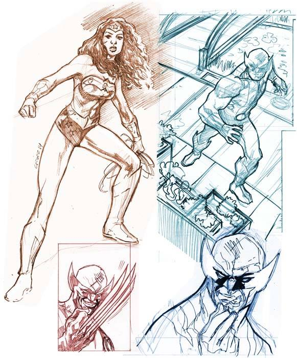 Wolverine/WonderWoman Sketches by dichiara