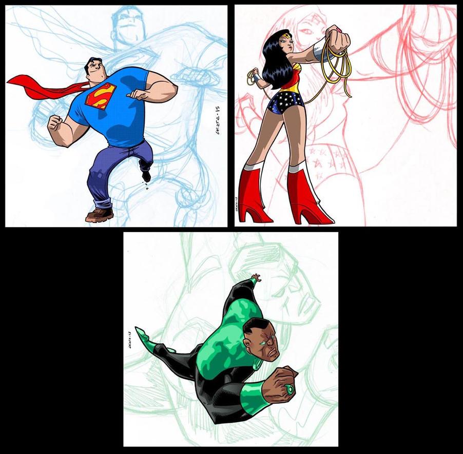 Superman/WonderWoman/GreenLantern by dichiara