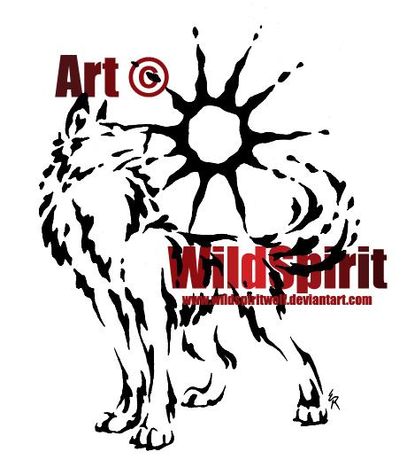 Proud Sun Wolf Splatter Tattoo by *WildSpiritWolf on deviantART