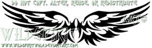 Feminine Tribal Wings Tattoo