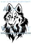 Tribal Wolf Bust Tattoo