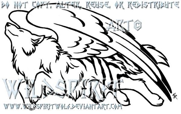 Lineart Wolf Tattoo : Tiger wolf angel tattoo by wildspiritwolf on deviantart