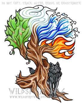 Elemental Tree And Wolf Tattoo