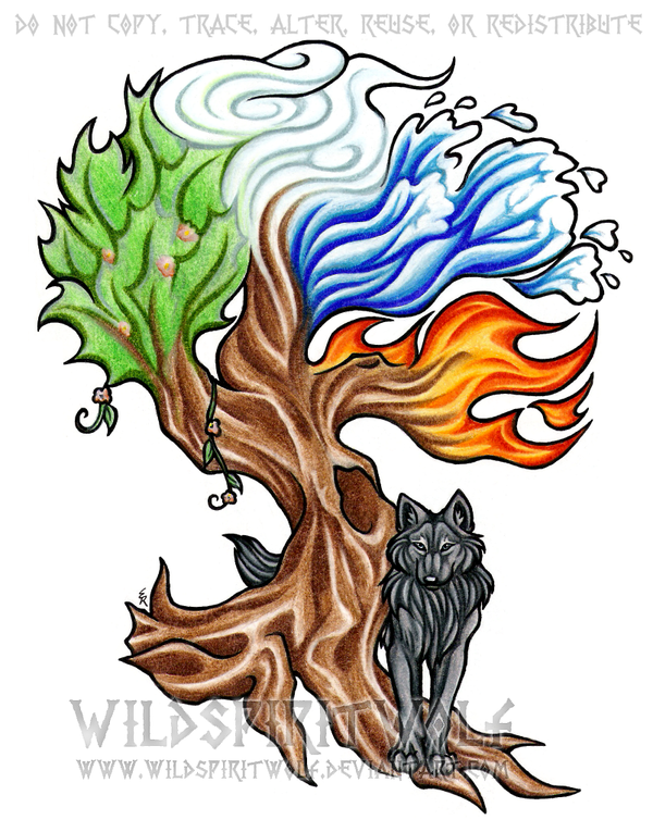 Elemental Tree And Wolf Tattoo by WildSpiritWolf on DeviantArt