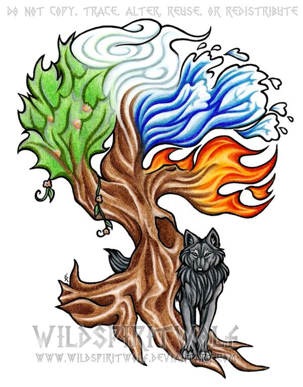 elemental tree and wolf tattoo by wildspiritwolf on deviantart. Black Bedroom Furniture Sets. Home Design Ideas