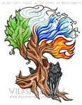 Elemental Tree And Wolf Tattoo