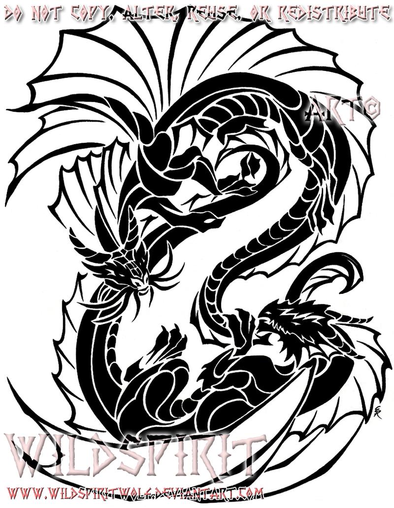 Yin-Yang Tribal Dragons by WildSpiritWolf
