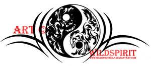 Yin Yang Tribal Wolf Tattoo