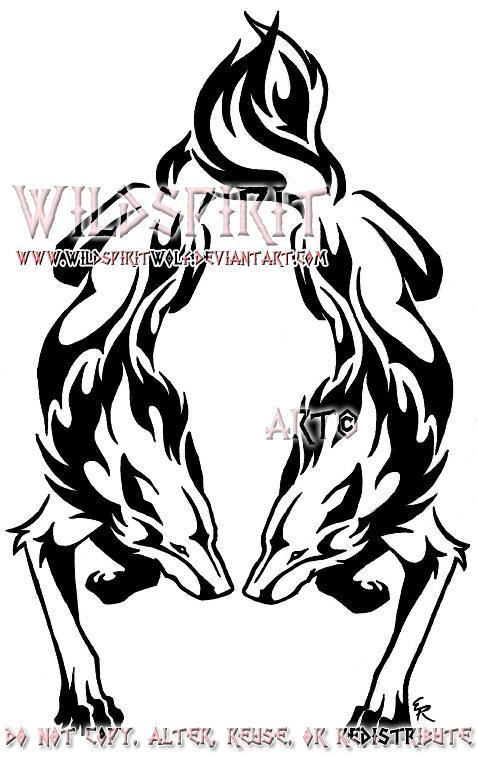 dual flame wolf tattoo by wildspiritwolf on deviantart