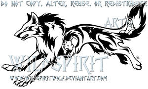 Tribal Running Wolf Tattoo