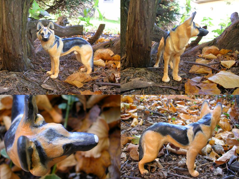 Remo German Shepherd Sculpture by WildSpiritWolf