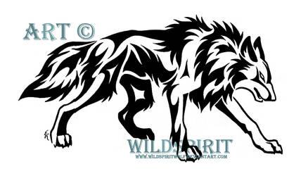 Stalking Tribal Wolf Design by WildSpiritWolf
