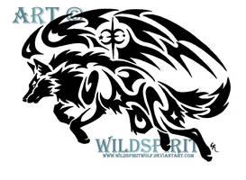 Tribal Winged Wolf by WildSpiritWolf