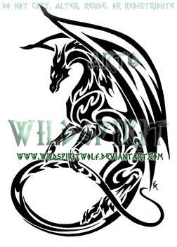 Maned Dragon Tribal Design