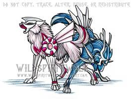 Palkia Dialga Pokemon Wolves by WildSpiritWolf