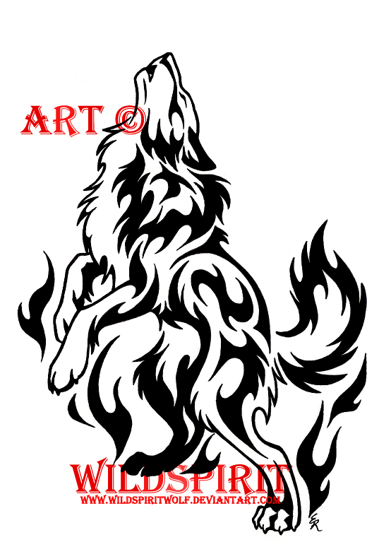 wolf tattoo. Spirit Flame Wolf Tattoo by