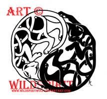 Yin-Yang Celtic Cat Tattoo by WildSpiritWolf