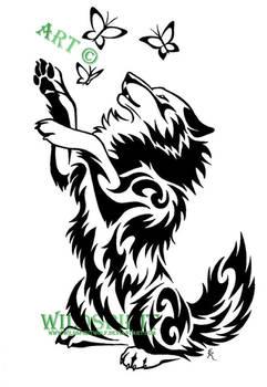 Wolf And Butterflies Tattoo