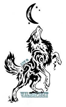 Starry Splatter Wolf Tribal Design