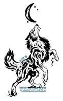Starry Splatter Wolf Tribal Design by WildSpiritWolf