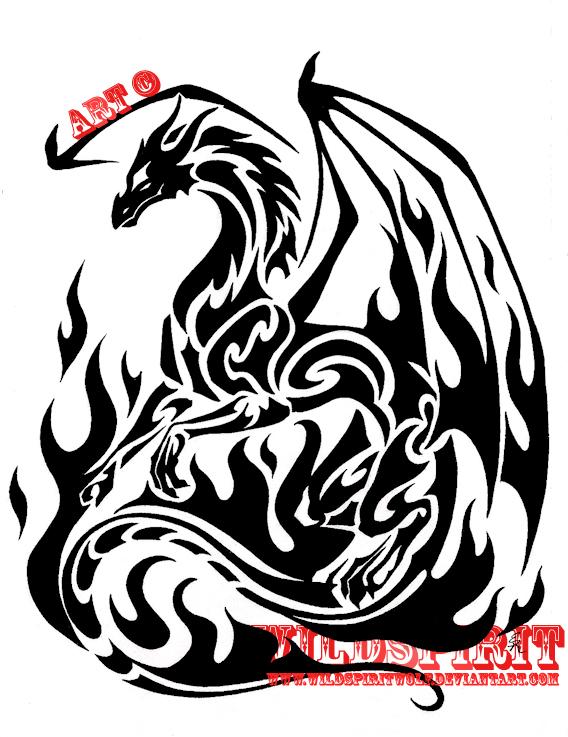 Tribal flame dragon tattoo by wildspiritwolf on deviantart for Tribal flames tattoo