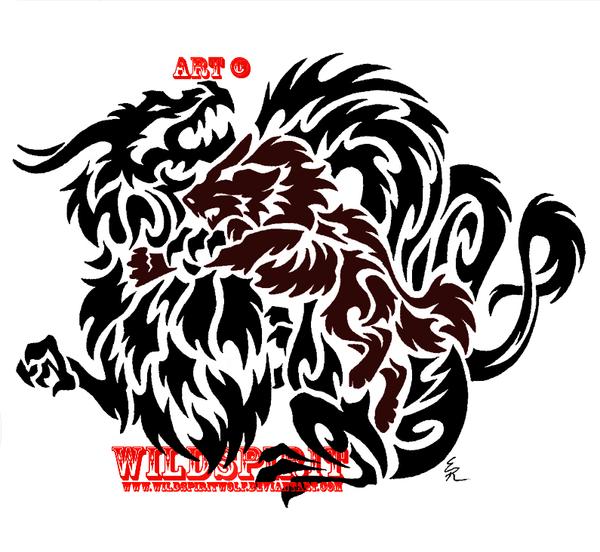 tribal wolf vs dragon tattoo by wildspiritwolf on deviantart. Black Bedroom Furniture Sets. Home Design Ideas