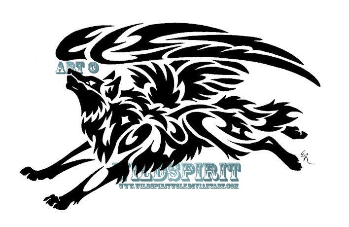 Tribal Flying Wolf Tattoo by WildSpiritWolf on DeviantArt