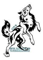 Starry Standing Wolf Tattoo by WildSpiritWolf